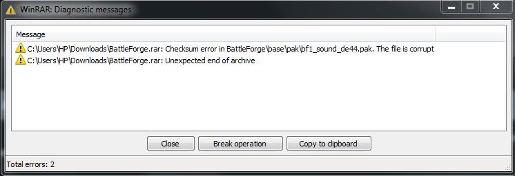 checksum error winrar
